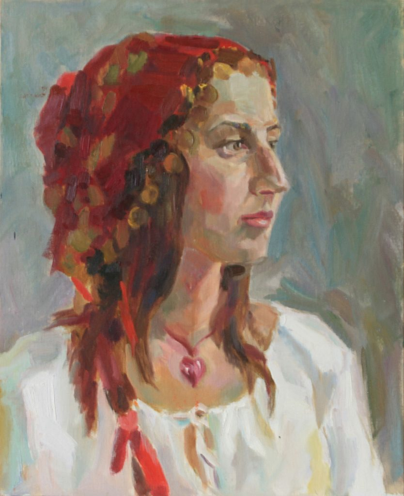 Portrait Of A Young Woman In A Red Headscarf With Coins