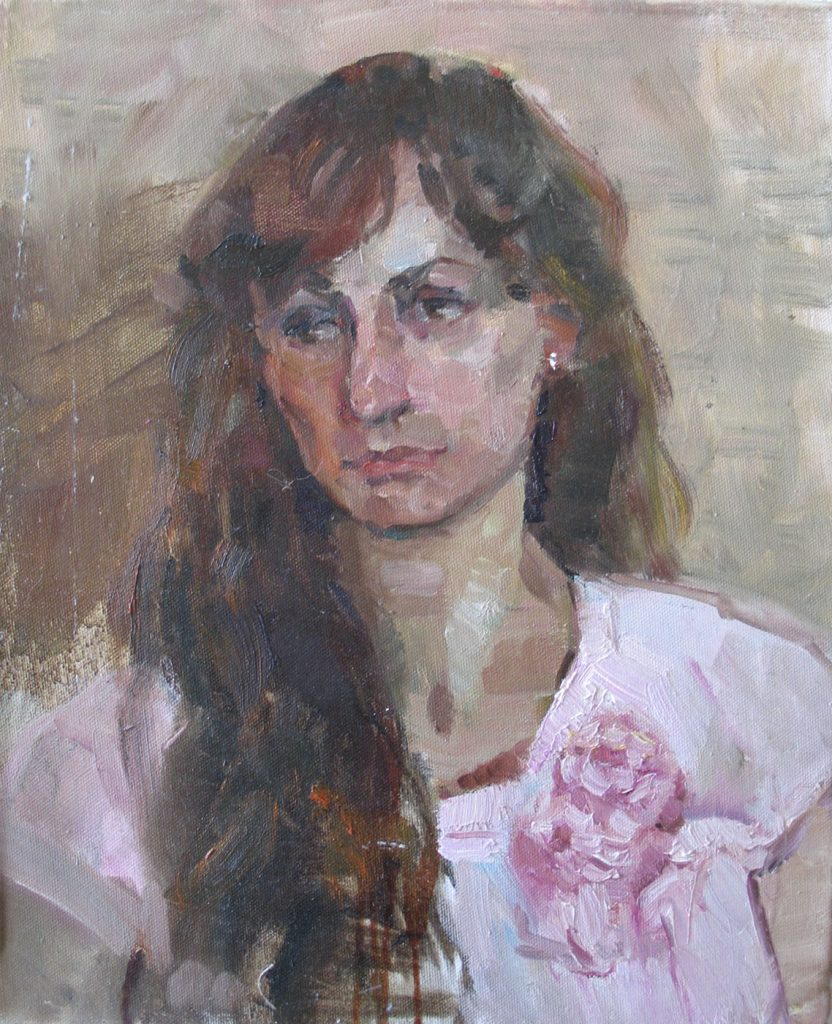 Portrait in brownish-pink colors