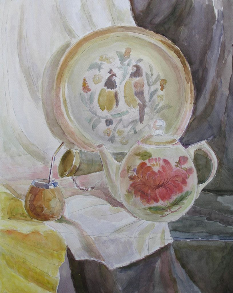 Still life with a painted tableware