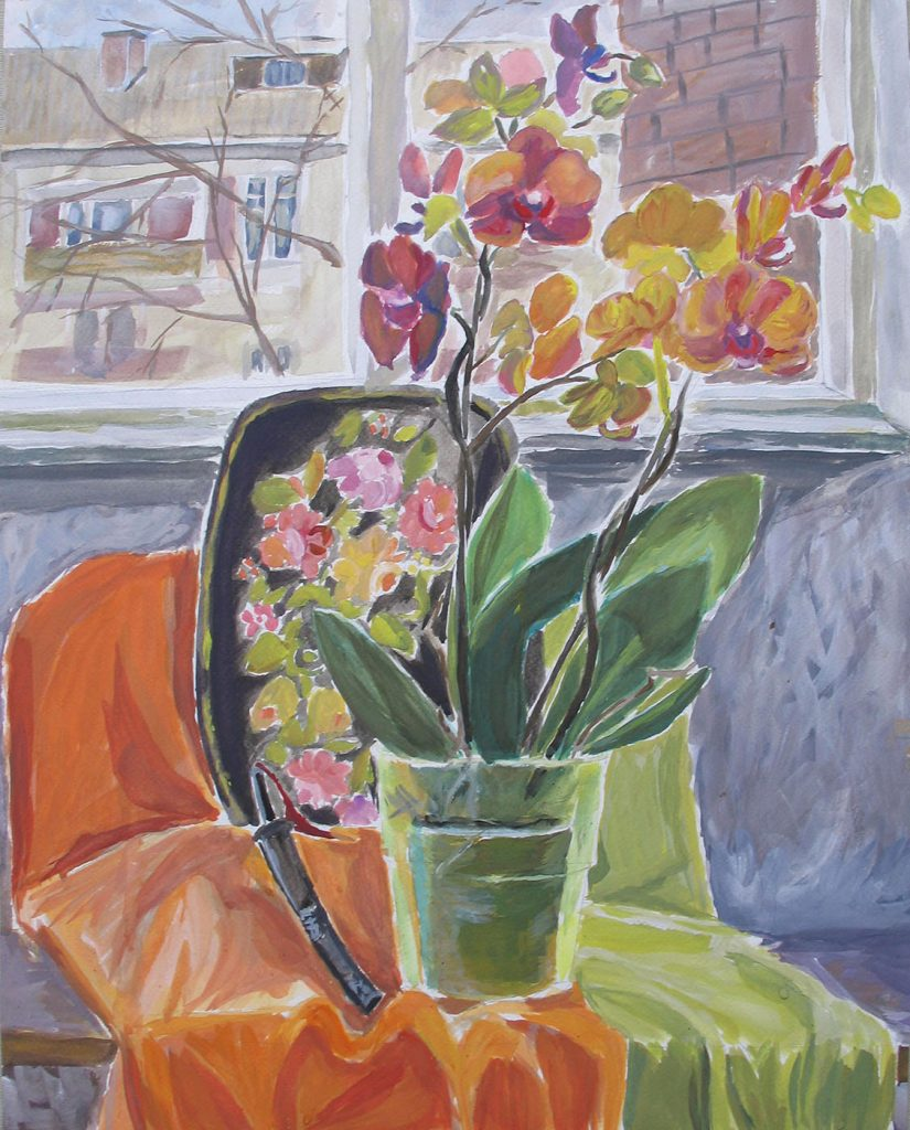 Still life with orchids at the window